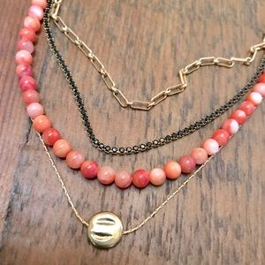 NWOT Anthropologie Gold, Beaded & Crystal Necklace